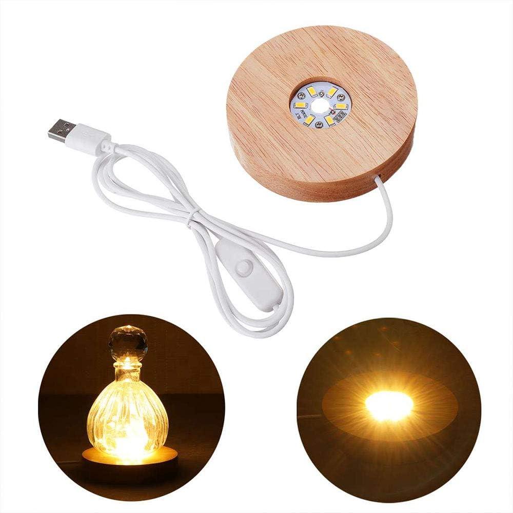 Wankd - Base de iluminación LED para Bloques de Cristal, luz de Ambiente giratoria, luz Blanca cálida, LED de exposición, Base de Madera