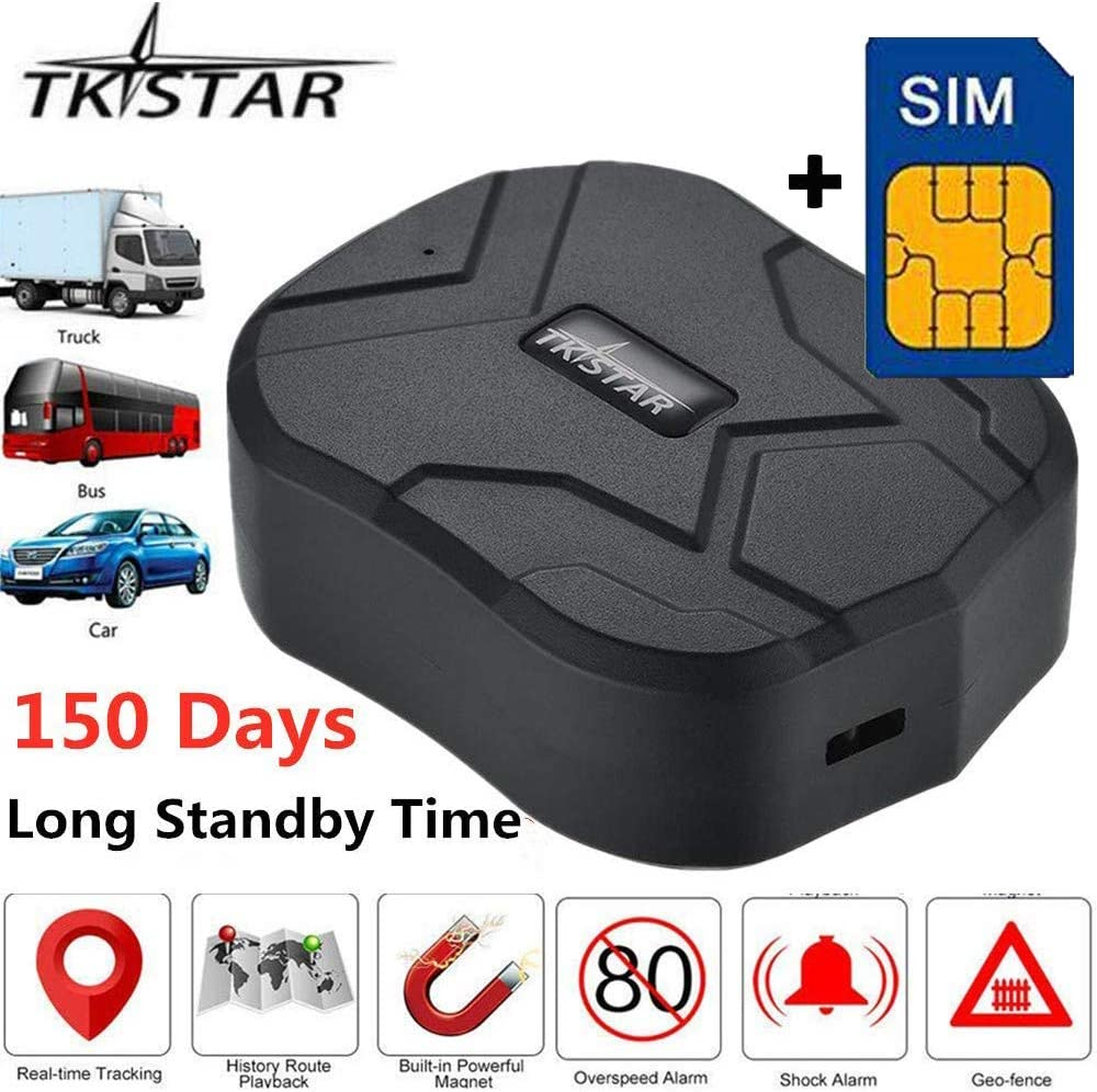 Free SIM TKSTAR Real Time Vehicle GPS Tracker,150 Day Long Time Standby Waterproof Strong Magnet Car GPS Tracking Device for SUV Car//Bus//Trucks Fleet Management TK905B