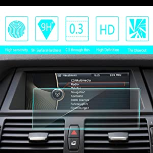 For 2008 2009 2010 2011 2012 2013 BMW X5 X6 8.8-Inch 209x79mm Car Navigation Screen Protector HD Clarity 9H Tempered Glass Anti-Scratch, In-Dash Media Touch Screen GPS Display Protective Film