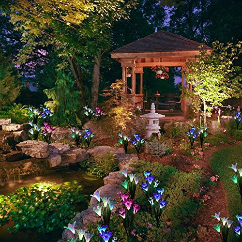 SW SAPPYWOON Outdoor Solar Flower Lights, 2 Packs Solar Garden Stake Lights with 8 Lily Flowers, Multi-Color Changing LED Solar Outdoor Garden Lights for Garden, Patio, Backyard (Purple and White) by SW SAPPYWOON (Image #6)