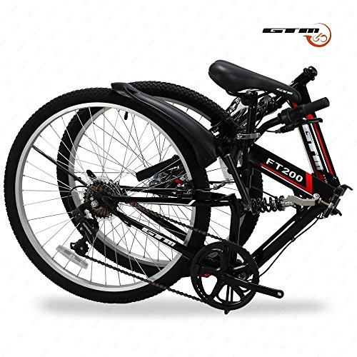 "Folding Mountain Bike 7 Speed Black 26"" Bicycle Shimano Hybrid Suspension Sports"