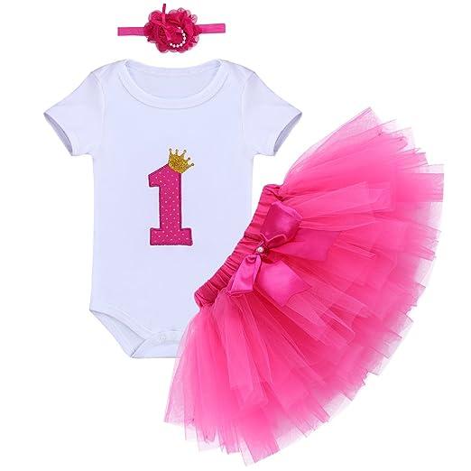 0a61d7a138c Baby Girls Cake Smash Outfit It s My 1st Birthday Romper Suit Bodysuit Tutu  Skirt Dress Headband