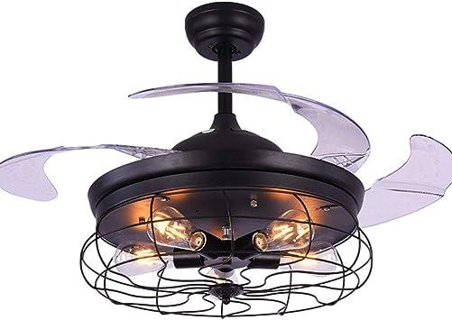 Ysj Ltd 42in 5 Lights Led Ceiling Fan Light Industrial Vintage Retro Black Ceiling Fan Lamps Lights Remote Control Invisible Folding Retractable Hidden Blades Amazon Com