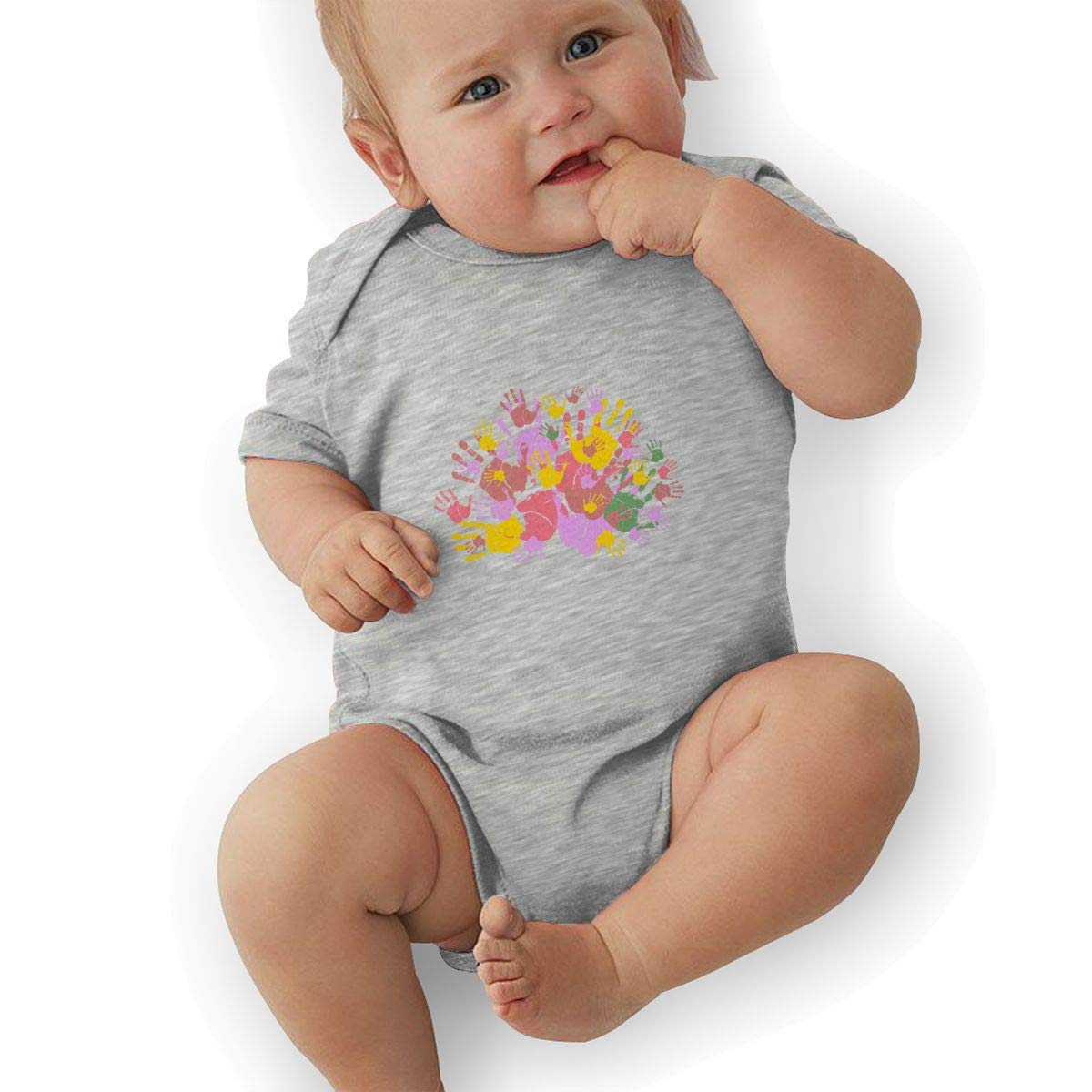 Toddler Baby Girls Bodysuit Short-Sleeve Onesie Creative Palm Multicolor Print Outfit Spring Pajamas