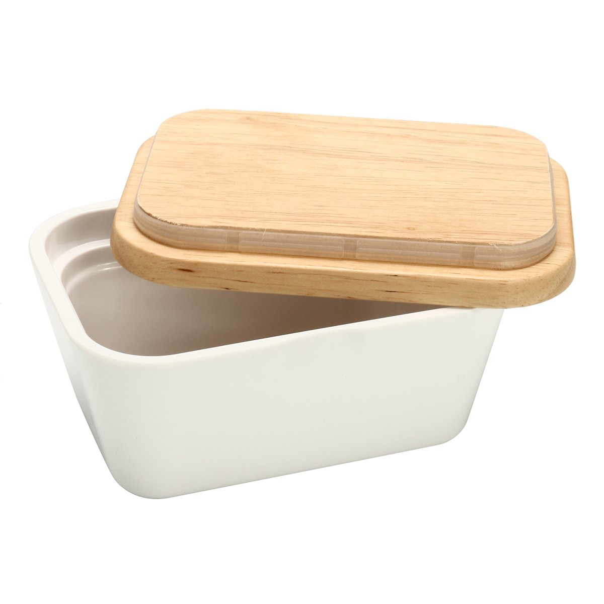 Vivona Hardware & Accessories Butter Box Dish Holder Serving Storage Container Wood Melamine with Lid - (Capacity: 500ml)