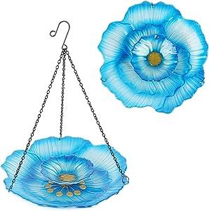 HONGLAND Hanging Bird Feeder Double Layer Glass Bowl Blue Flower Birdbath for Garden,Yard,Patio,12 Inches Diameter