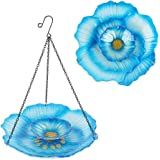 HONGLAND Hanging Bird Feeder Double Layer Glass Bowl Blue Flower Birdbath for Garden,Yard,Patio,12 Inches Diameter
