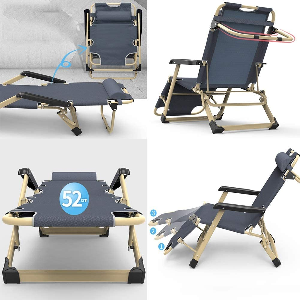 XUQIANG Folding Bed Office Chair Recliner Bed Chair Lazy Chair Blue Gray Folding chair (Color : Gray) Gray