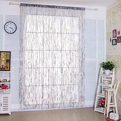 Taiyuhomes Lace Thread Door Sheer Curtain as Screen Door Flat String Fringe Window Panel for Doorway Room Divider or Laundry Living Decor in Party -