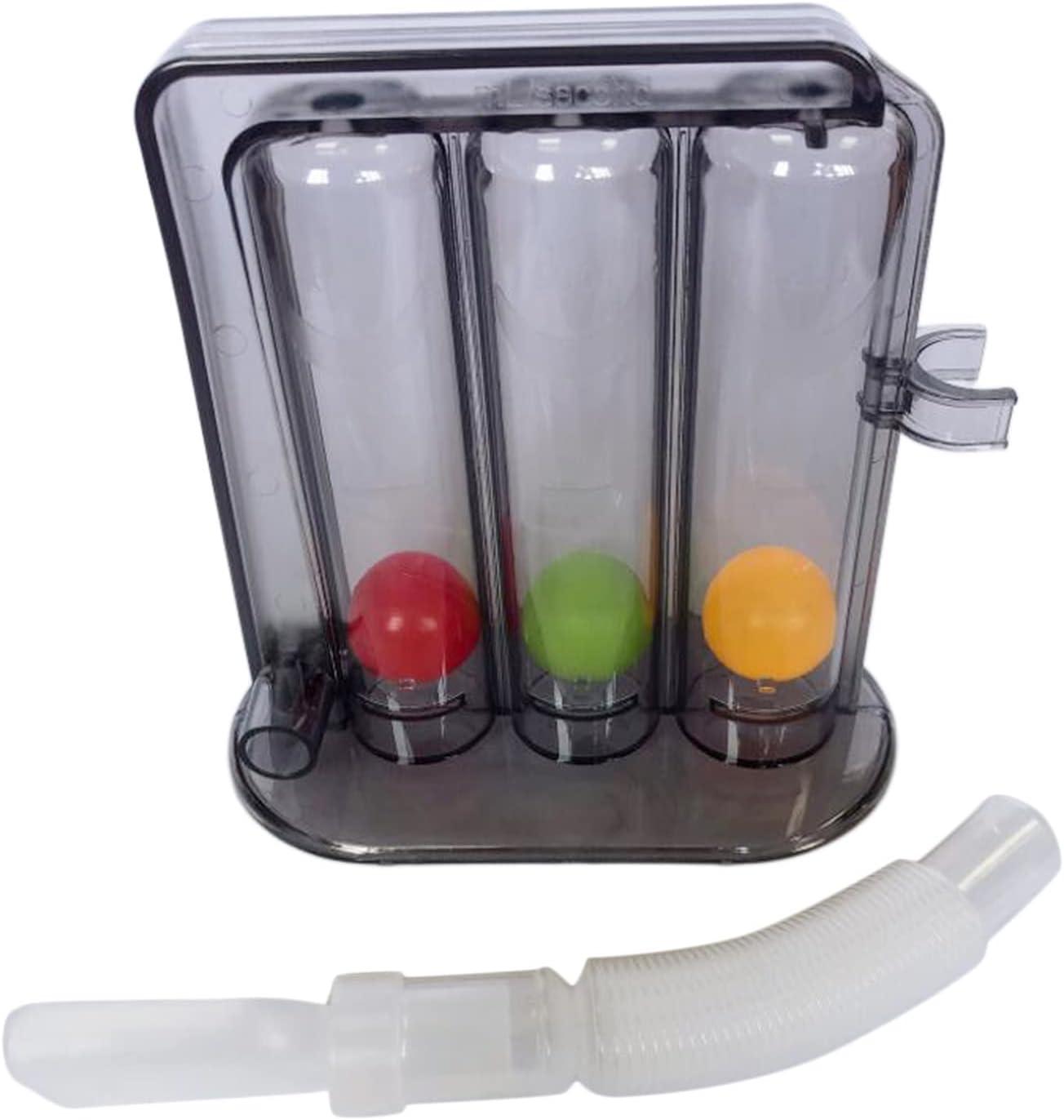 Milageto Herramienta de medición de la respiración de 3 bolas de entrenamiento de espirometría respiratoria ejercitador respiratorio de respiración portátil