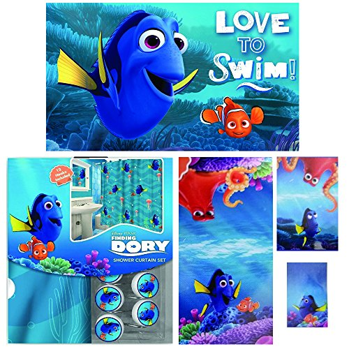 Disney Marvel New Shower Curtain & Hooks & Bath Towel & Memory Foam Mat Set (Dory, 17pcs Set)