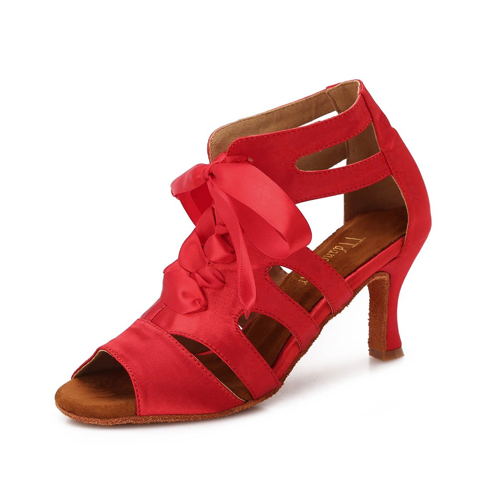 TTdancewear Women Ballroom Dance Shoes Latin Salsa Bachata Wedding Dance Dancing Shoes 7- Red 3inch by TTdancewear (Image #1)