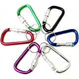 Makhry 6pcs Durable Carabiner Aluminum Locking Clip Camping Hook Keychain Hiking Screw Gate D-ring Key Chain Clip Hook-random color