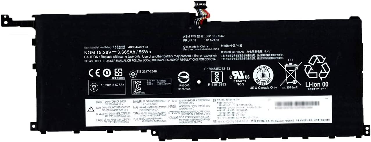 BOWEIRUI SB10K97567 01AV458 (15.28V 56Wh 3665mAh) Laptop Battery Replacement for Lenovo ThinkPad X1 Carbon 4th Gen 2016 Series 00HW029 01AV410 01AV409 1AV457 01AV444 01AV438 01AV439 01AV441 00HW028