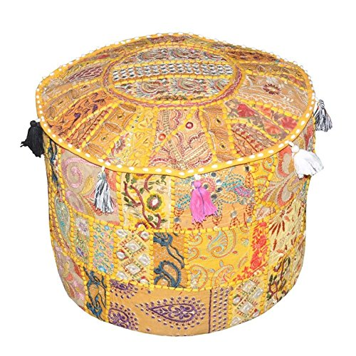 "Indian Living Room Pouf, Foot Stool, Round Ottoman Cover Pouf,Traditional Handmade Decorative Patchwork Ottoman Cover,Indian Home Decor Cotton Cushion Ottoman Cover 18 x 15"" inches (Yellow)"