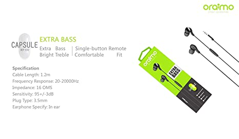 ORAIMO OEP-E22 Extra Bass Capsule Headphones  Amazon.in  Electronics 6a9aba455667