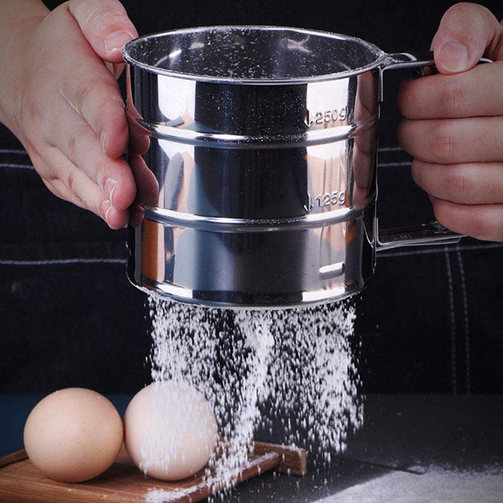 SEADEAR Flour Sifter Fine Mesh Sieve Flour Sifter for Baking with Handle Stainless Steel Hand-held Cup Sifter