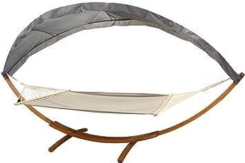 Amazon.de: Hängematte mit Gestell und Dach 200 x 150 cm Auflage Holz Ga