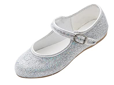 9e66c123772a3 Girls Silver Glitter Bridesmaid Party Fancy Dress Ballerina Flat Shoes  Louise (Childs Size UK 1