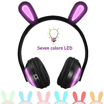 VISTANIA Inalámbrico Bluetooth Oreja De Gato Auriculares 7 Colores LED Luz Intermitente En La Oreja Auriculares