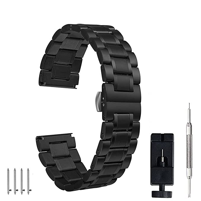 24mm 22mm 20mm 18mm Watch Band, PluWatch Quick Release Premium Solid Stainless Steel Metal Business