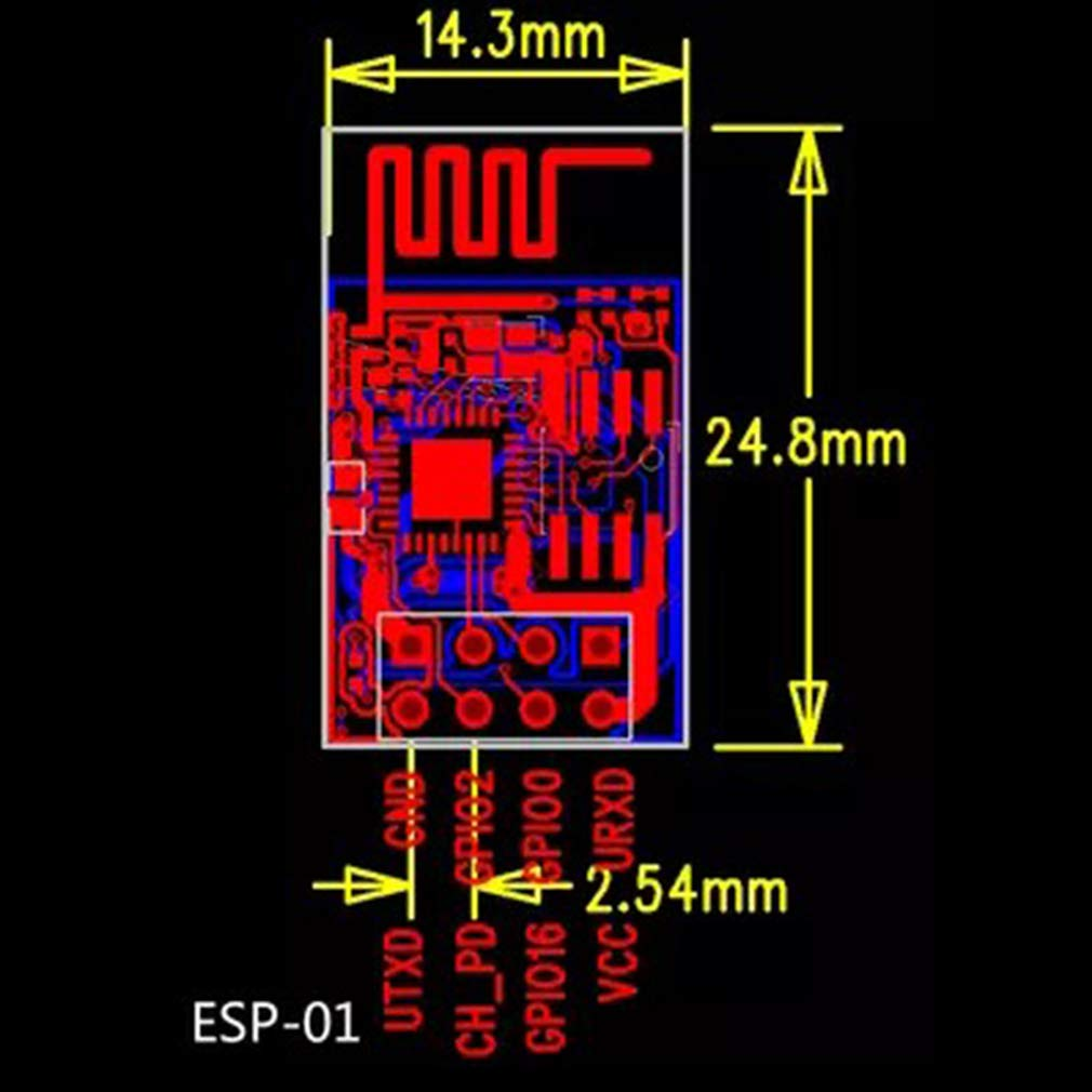 modulo Wi-Fi seriale USB to ESP8266 ESP01 Kootk ESP8266 ESP-01S Modulo ricetrasmettitore Wireless WiFi seriale 01S con Adattatore Bread Board