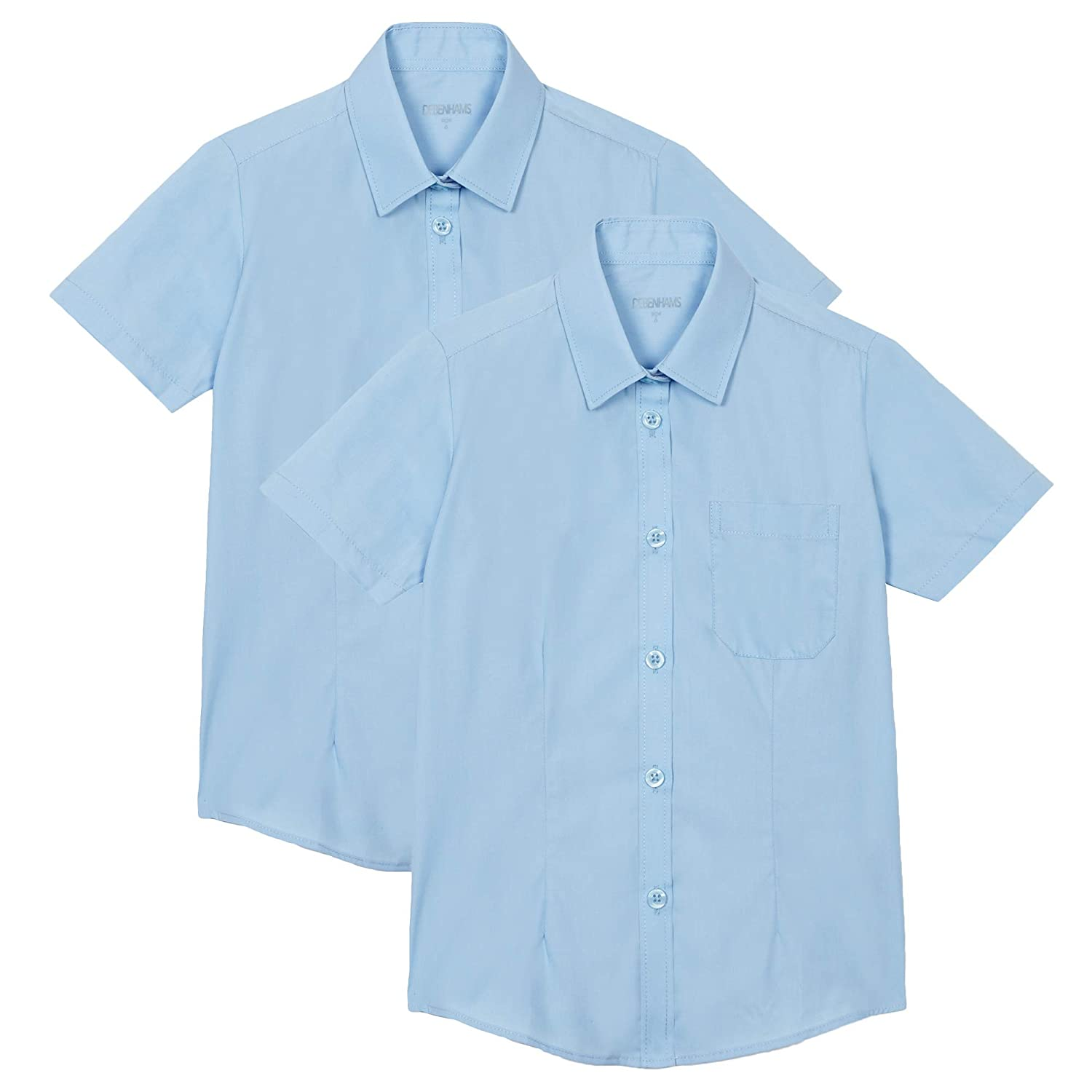 Debenhams Kids Pack of Two Girls Blue Short Sleeved School Blouses Age 9