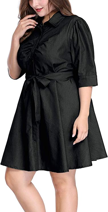 uxcell Women's Plus Size Denim Dress 1/2 Sleeves Belted Shirt Dresses