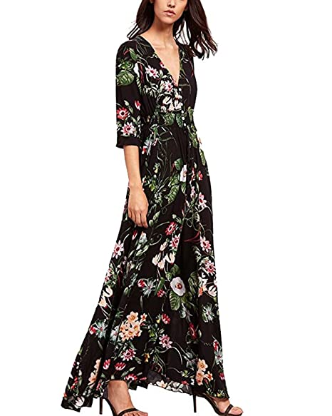 2a0bb6b5ea FOURSTEEDS Womens Bohemian Style Floral Print Loose Fit V-Neck Short Sleeve  Split Swing Long Casual Maxi Dress at Amazon Women s Clothing store