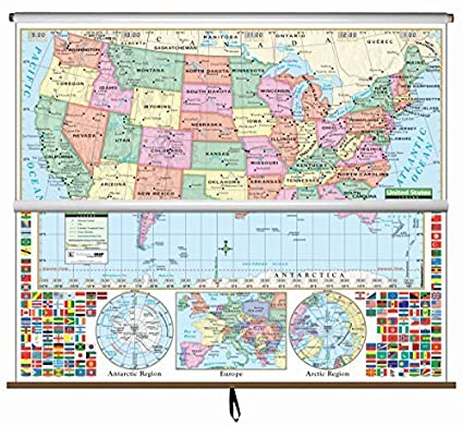 Us And World Map.Amazon Com U S World Primary Wall Map Combo Roller Primary