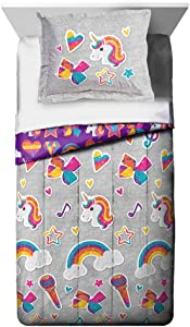 Jay Franco Nickelodeon JoJo Siwa Rainbow Sparkle Comforter and Sham Set, Grey