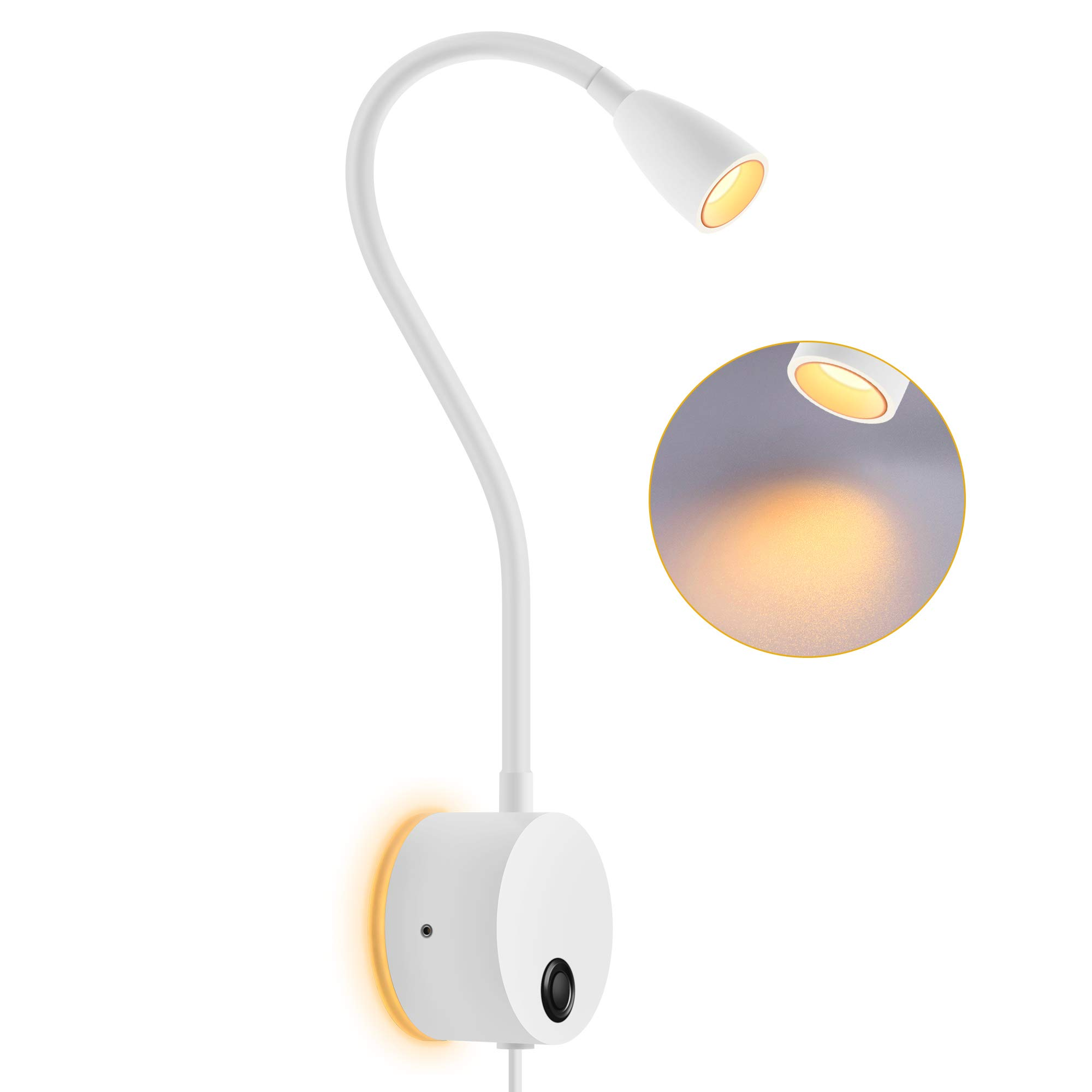 OBSESS gooseneck Reading Light Bedside LED Night Light with Dimmable Button and Touch Switch,Warm White 3W Book Reading Lamp with Atmosphere Back Light (White)