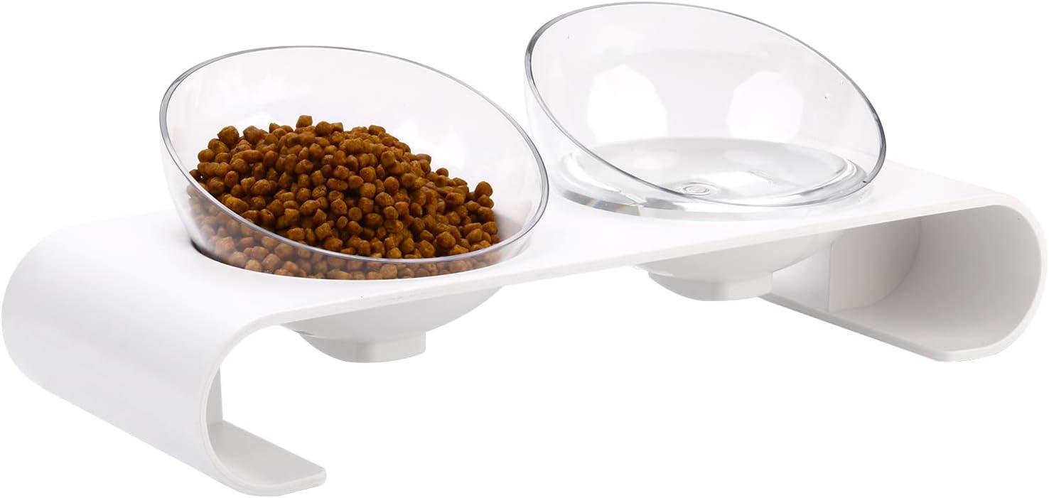 Legendog Doble Gato Cuenco, Tazón de Comida para Gatos Ajustable con Soporte Elevado y diseño Antideslizante, tazón para alimentador de Mascotas Gatos