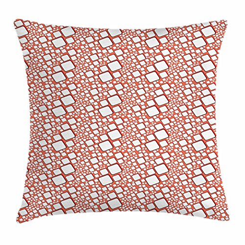 Ambesonne Abstract Throw Pillow Cushion Cover, Ornamental Squares with Oval Corners in Various Shapes Geometric Pattern, Decorative Square Accent Pillow Case, 40 X 40 Inches, Dark Salmon White