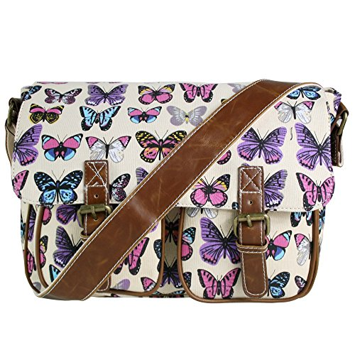 MESSENGER OILCLOTH SATCHEL SHOULDER CROSS BUTTERFLY OWL BODY RETRO LULU BAG LEAVES CANVAS Butterfly MISS VINTAGE LADIES OR SCHOOL Canvas HAND Beige x1qwOS7Yn