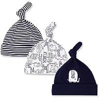CuteOn 3 Paquete Bebé Beanie Nudo Sombrero Recién Nacido Chicos Chicas Algodón Ajustable Gorra para Bebé