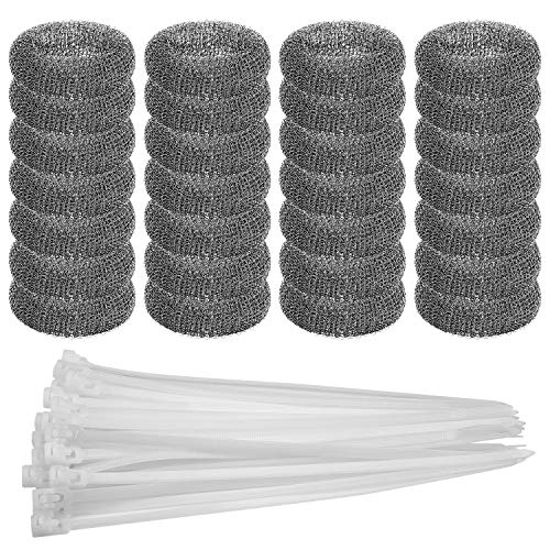 28PCS Washing Machine Lint Traps with Cable Ties for Washer Sink Hose to Filter Laundry Water - Rust Proof Stainless Steel