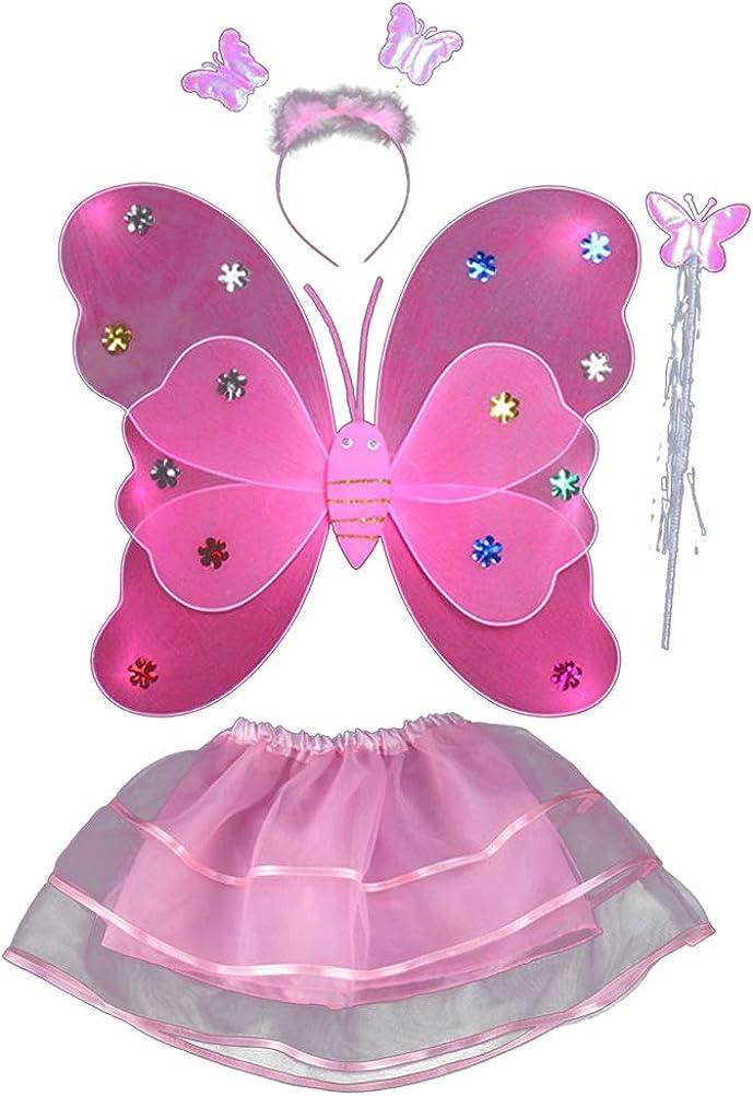 KESYOO4 piezas de alas de mariposa para niños niñas hadas Led doble capa Ala de mariposa Varita Diadema Tutu Falda fiesta traje conjunto (rosa)