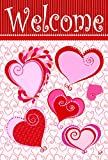 Toland Home Garden Paper Hearts 12.5 x 18 Inch Decorative Valentine Heart Welcome Garden Flag