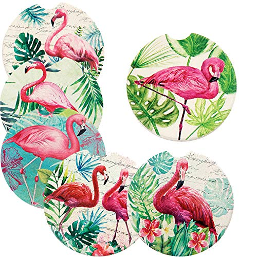 (Flamingo Design Set of 6 Absorbent Stoneware Car Cup Holder Coasters for drink Ceramic Stone AUTO Coasters 2.56'')