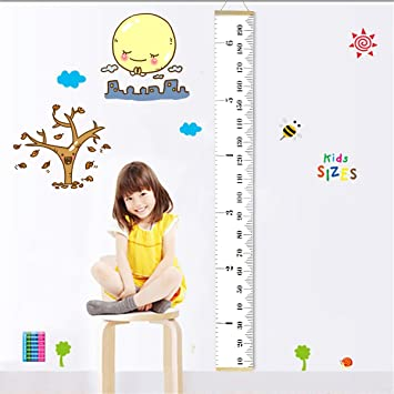 amazon com fixget baby height growth chart roll up canvas hanging