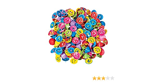 Fun Express ~ 144 ~ Plastic Smile Face Spin Tops ~ 1 1//4 Inch ~ New 39//1061 1 Gross