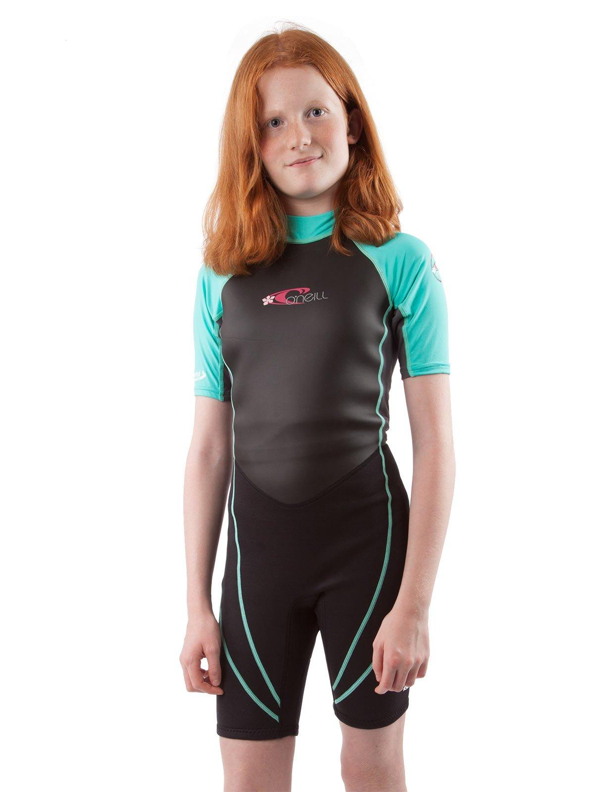 O'Neill Reactor Hybrid kids shorty wetsuit 4 Black/graphite/light aqua