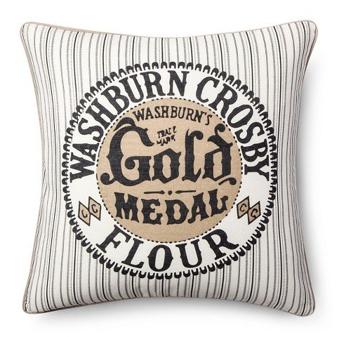 Gold Medal Flour Throw Pillow - Grey (20x20) - The Industrial Shop™