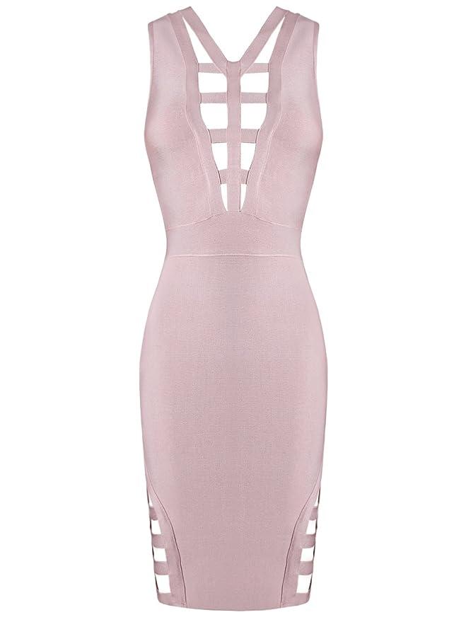 Alice & Elmer Womens Rayon Cut Out Bodycon Bandage Dress Apricot L: Amazon.co.uk: Clothing