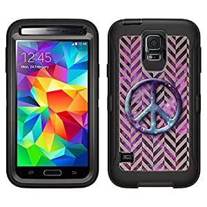 Skin Decal for Otterbox Defender Samsung Galaxy S5 Case - Peace on Chevron Mini Brown on Nebula