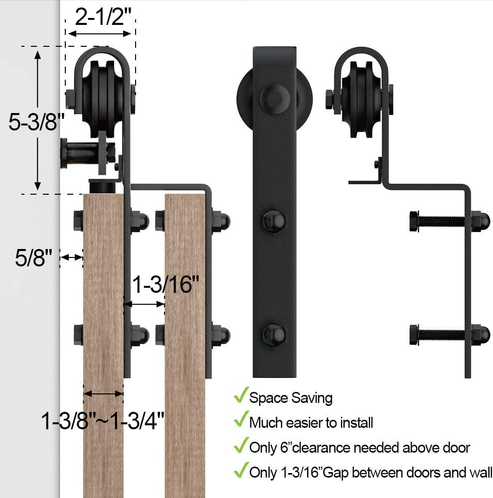 WINSOON 5FT Single Track Bypass Barn Door Hardware Double Doors Kit Heavy Duty Sliding One Track Antique Roller for Cabinet Closet Fit Double 30 Wide Door