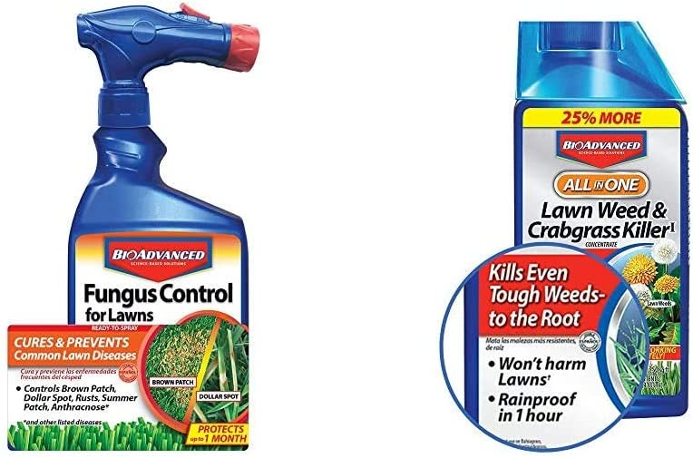 BioAdvanced 701270A Effective Fungicide with Disease Prevention Fungus Control for Lawns, 32-Ounce & 704140 All-in-One Lawn Weed and Crabgrass Killer Garden Herbicide, 32-Ounce