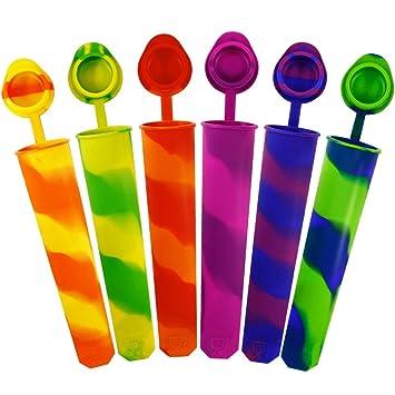 Compra Kidac Moldes para Helados de Silicona Moldes para Helado Palito Popsicle Molds Con Tapa Anti-perdida Grado de Comida (Conjunto de 6 Multicolor)  en ...