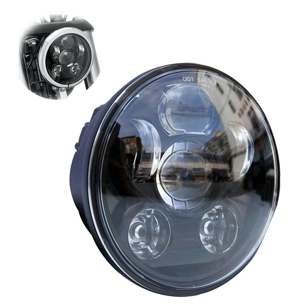 Locisne 5-3/4' 5.75' Round LED Projection Daymaker Headlight for Harley Davidson Kickfaire Motorcycle Projector Lights 45W 9 LED Bulb Headlamp Aluminum Lamp